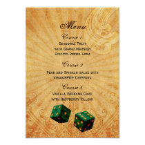 emerald green dice Vintage Vegas wedding menu Card