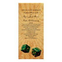 emerald green dice Vintage Vegas wedding program