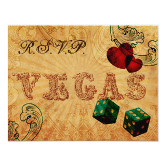 emerald green dice Vintage Vegas wedding rsvp Card