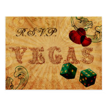 emerald green dice Vintage Vegas wedding rsvp Postcard