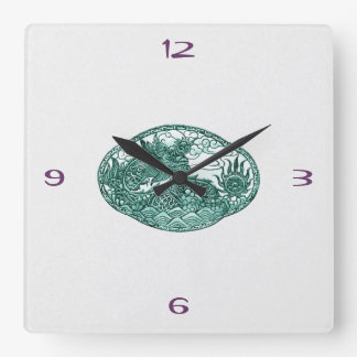 Emerald Green Dragon Medallion Square Wall Clock
