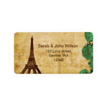 emerald green eiffel tower Paris address labels