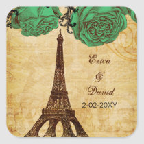 emerald green eiffel tower Paris envelopes seals