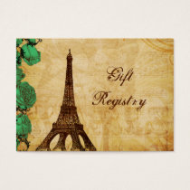 emerald green eiffel tower Paris Gift registry Business Card