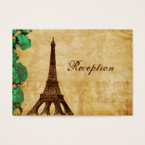 emerald green eiffel tower Paris Reception cards