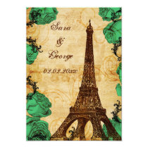 emerald green eiffel tower Paris save the date Card