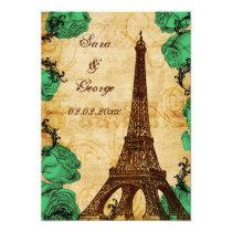 emerald green eiffel tower Paris save the date Card