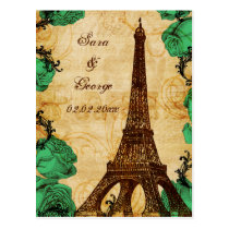 emerald green eiffel tower Paris save the date Postcard