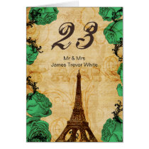 emerald green eiffel tower Paris Table Numbers Card
