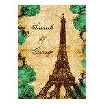 emerald green eiffel tower Paris thank you Card