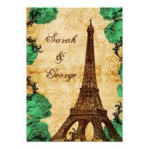 emerald green eiffel tower Paris thank you Card