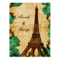 emerald green eiffel tower Paris thank you Postcard