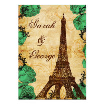 emerald green eiffel tower Paris wedding invite