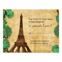 emerald green eiffel tower Paris wedding rsvp Card