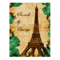 emerald green eiffel tower Paris wedding rsvp Postcard