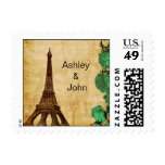 emerald green eiffel tower Paris wedding stamps