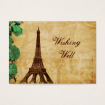 emerald green eiffel tower Paris wishing well card