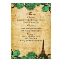 emerald green eiffeltower Paris wedding menu cards
