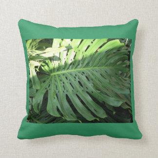 Emerald Green Elephant Ear Plant Pillow