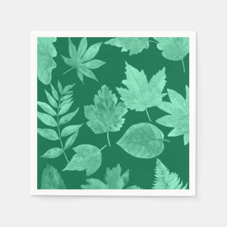 Emerald Green fall leaves, custom color avail Napkin