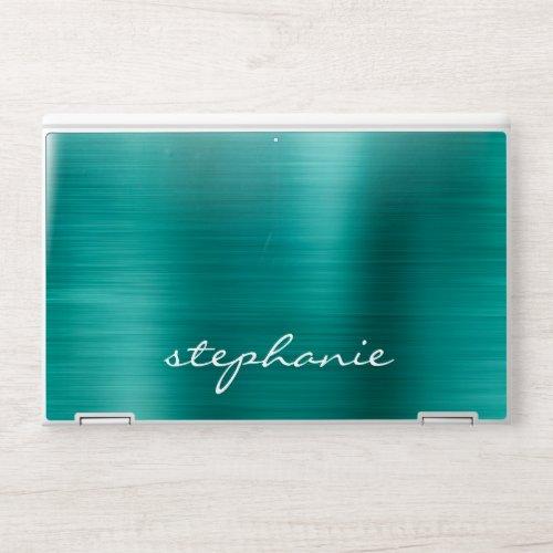 Emerald Green Faux Brushed Metal Personalized HP Laptop Skin