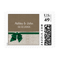 emerald green FAUX lace and burlap stamps