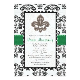 Emerald Green Fleur de Lis Bridal Shower Card