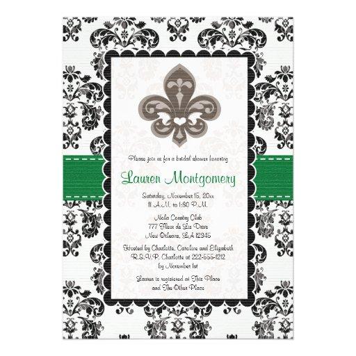 Emerald Green Fleur de Lis Bridal Shower Cards