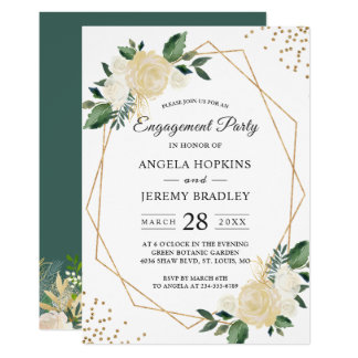 Emerald Green Floral Gold Frame Engagement Party Invitation