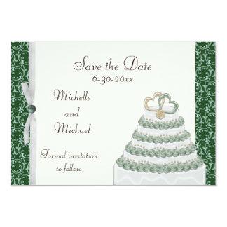 Emerald Green Florentine Save the Date 3.5x5 Paper Invitation Card