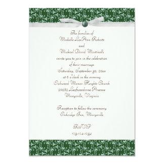 "Emerald Green Florentine Wedding Invitation 5"" X 7"" Invitation Card"