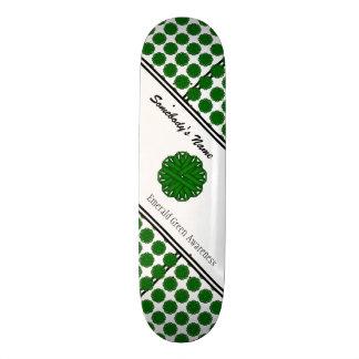 Emerald Green Flower Ribbon Skateboard Deck