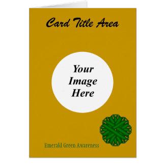 Emerald Green Flower Ribbon Template Card