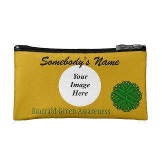 Emerald Green Flower Ribbon Template Makeup Bag
