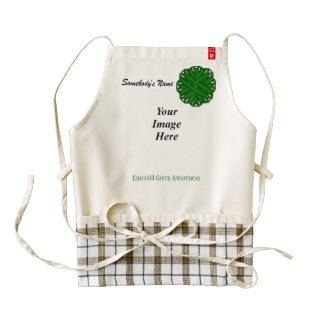 Emerald Green Flower Ribbon Template Zazzle HEART Apron