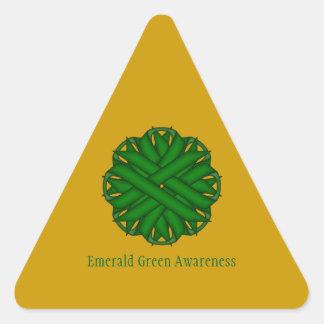 Emerald Green Flower Ribbon Triangle Sticker