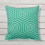 "Emerald Green Geometric Pattern Outdoor Pillows<br><div class=""desc"">Emerald Green Japanese hexagonal geometric pattern pillow for outdoor use. Made in the USA. Vivid high quality printing. UV and mildew resistant garden or patio pillows in with modern geometric designs in vibrant summer colors. Available in 16&quot; or 20&quot; square and 13&quot; by 21&quot; rectangular sizes. Insert included. (Also available...</div>"