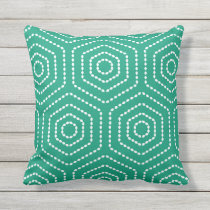 Emerald Green Geometric Pattern Outdoor Pillows