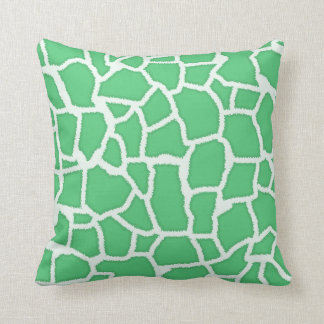 Emerald Green Giraffe Animal Print Throw Pillow