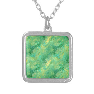 Emerald Green Glassy Texture Silver Plated Necklace