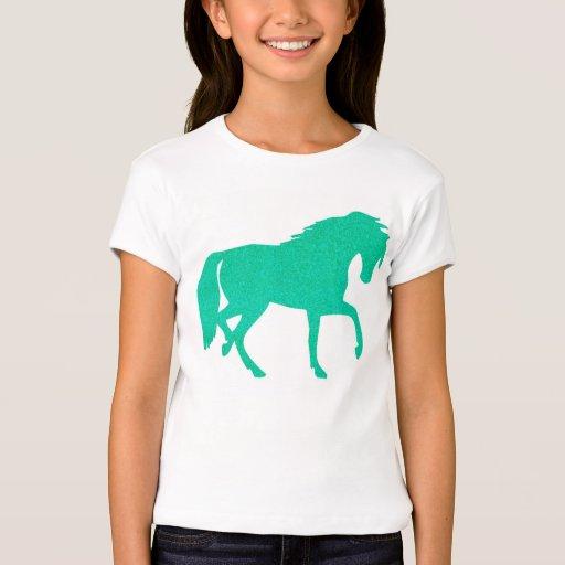 Emerald Green Glitter Horse Girls T-shirt