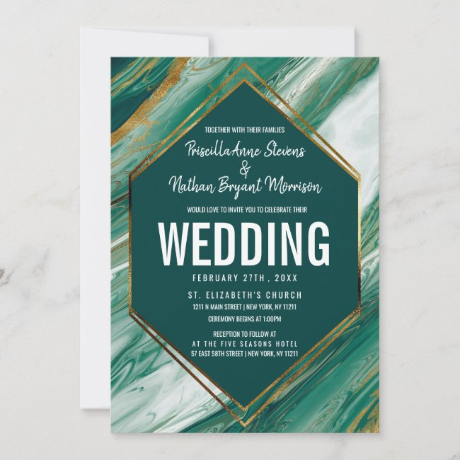 Emerald Green Gold Abstract Agate Marble Wedding Invitation