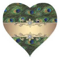 Emerald Green Gold Elegant Peacock Stickers