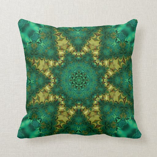 Emerald Green   Gold Geo-Fractal Art Cushion