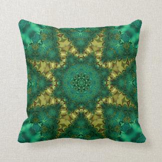 Emerald Green + Gold Geo-Fractal Art Cushion Throw Pillow