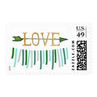 Emerald Green Gold Love Ribbon Banner Stamp