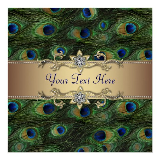 Emerald Green Gold Peacock Party Event Poster