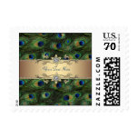 Emerald Green Gold Peacock Wedding Postage