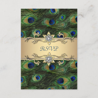 Emerald Green Gold Royal Indian Peacock RSVP