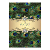 Emerald Green Gold Royal Indian Peacock RSVP Card